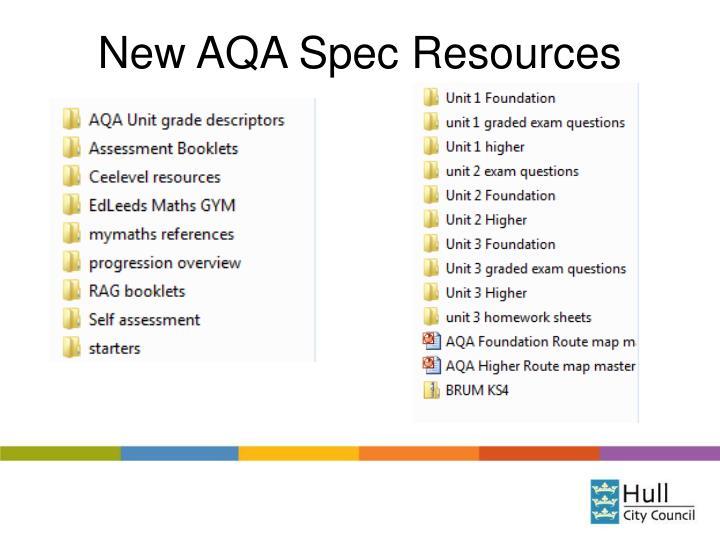 New AQA Spec Resources