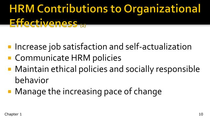 HRM Contributions to Organizational Effectiveness