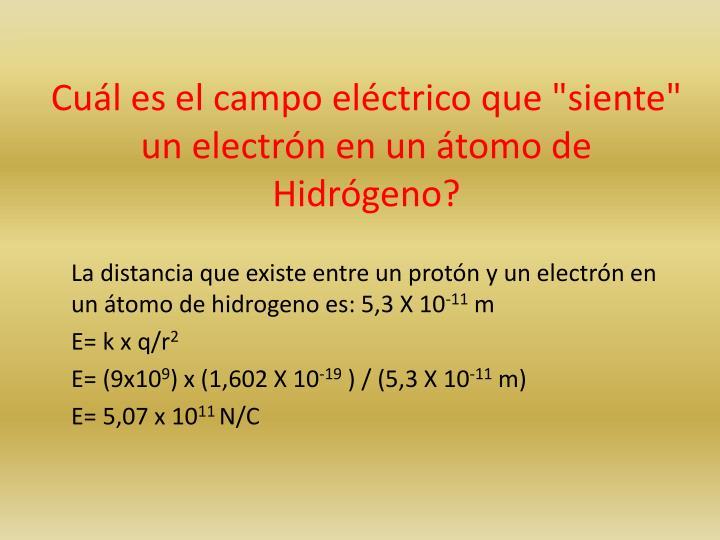 """Cuál es el campo eléctrico que """"siente"""" un electrón en un átomo de Hidrógeno?"""