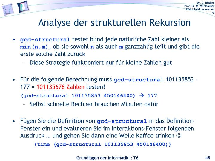 Analyse der strukturellen Rekursion