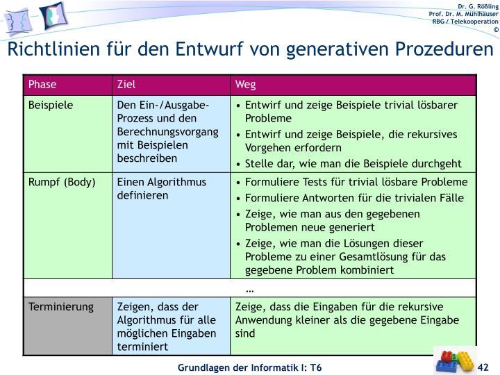 Richtlinien für den Entwurf von generativen Prozeduren