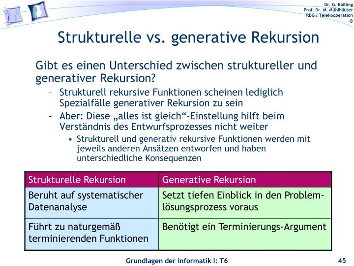 Strukturelle vs. generative Rekursion