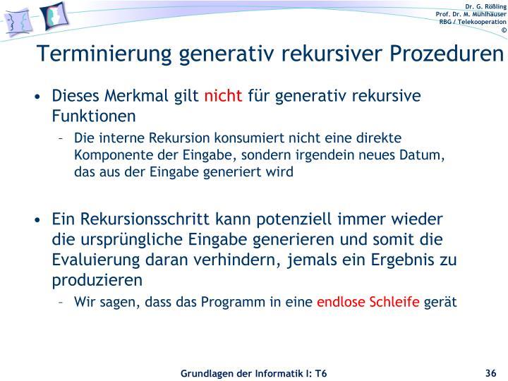 Terminierung generativ rekursiver Prozeduren