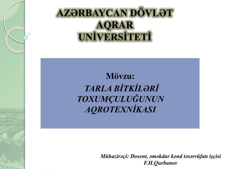 AZƏRBAYCAN DÖVLƏT AQRAR