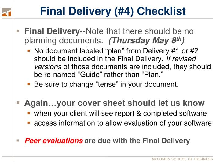 Final Delivery (#4) Checklist