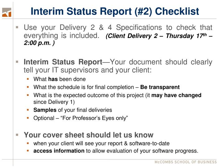 Interim Status Report (