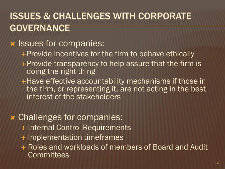 Issues for companies: