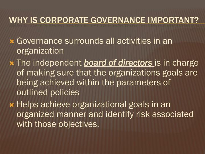 Governance surrounds all activities in an organization