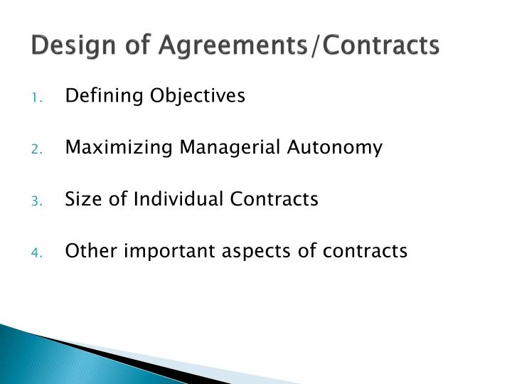 Design of Agreements/Contracts