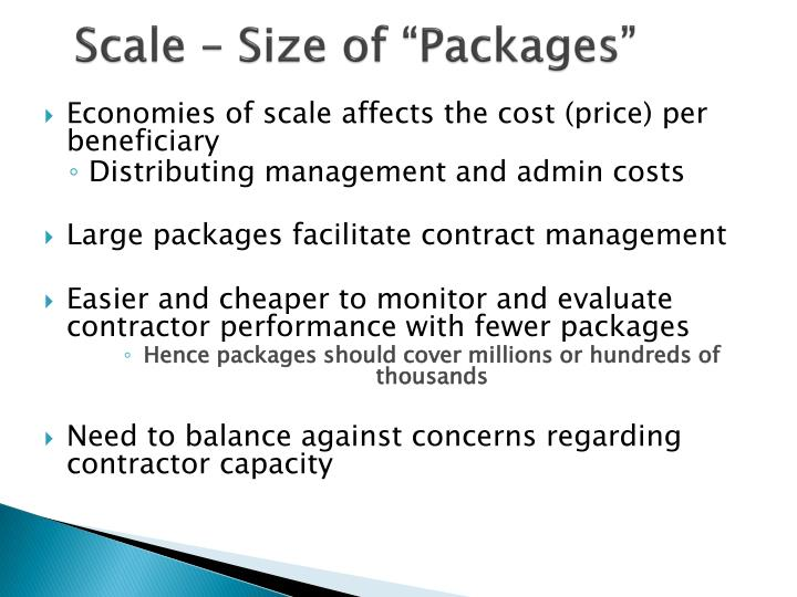 "Scale – Size of ""Packages"""