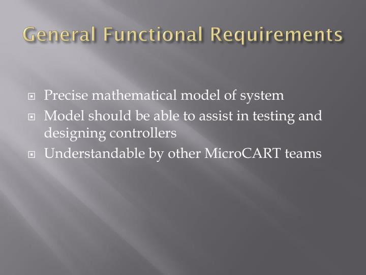 General Functional Requirements