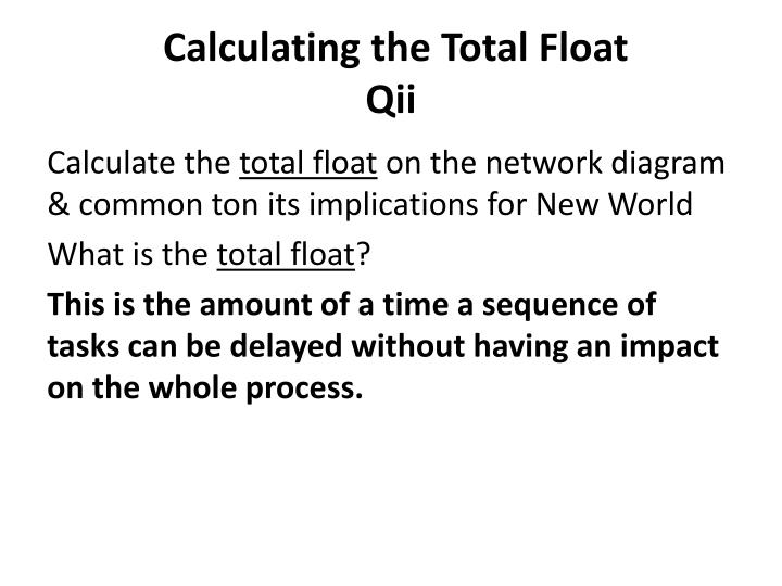 Calculating the Total Float