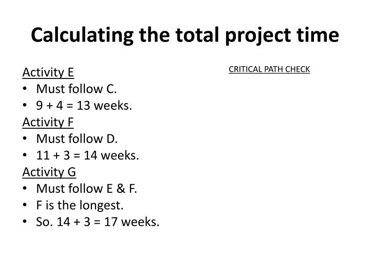 Calculating the total project time1