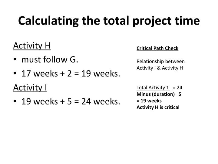 Calculating the total project time
