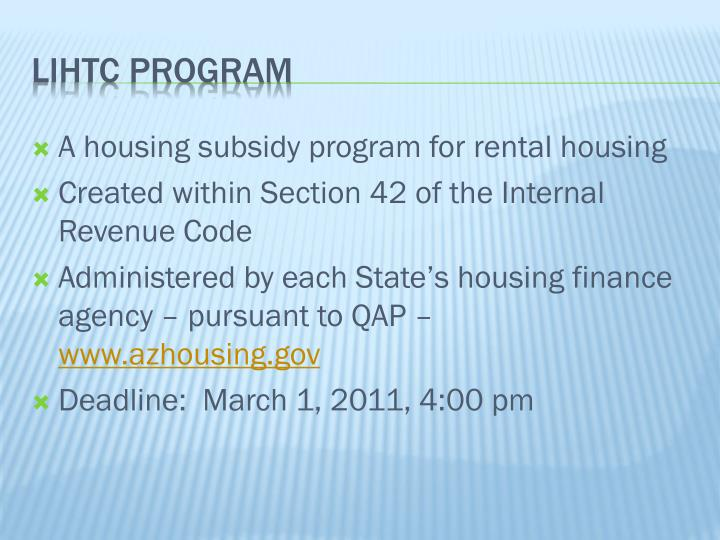 A housing subsidy program for rental housing