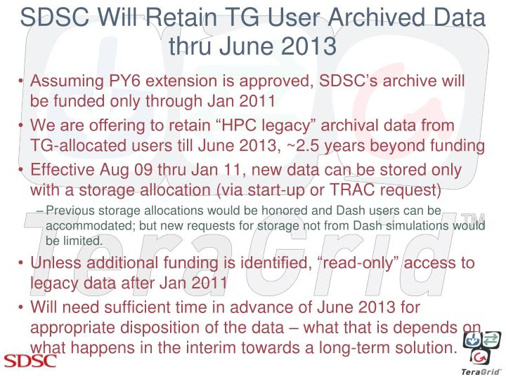 Sdsc will retain tg user archived data thru june 2013