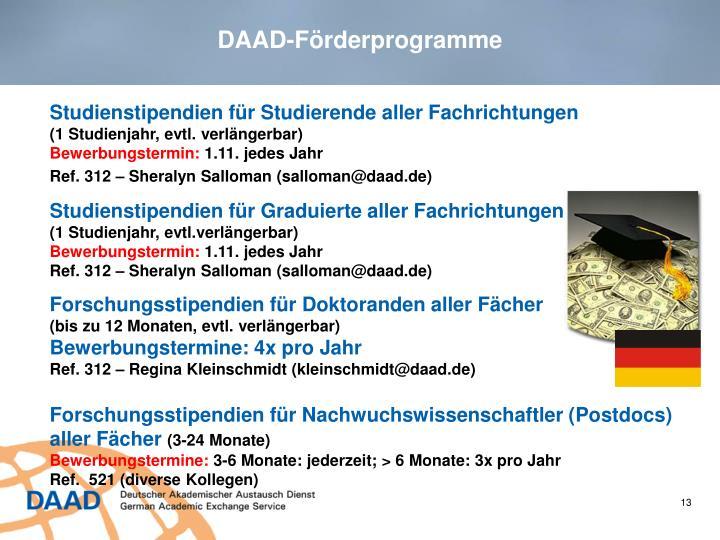 DAAD-Förderprogramme