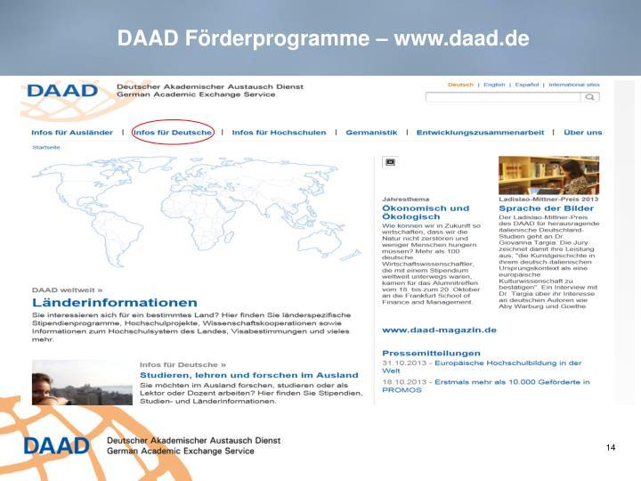 DAAD Förderprogramme – www.daad.de