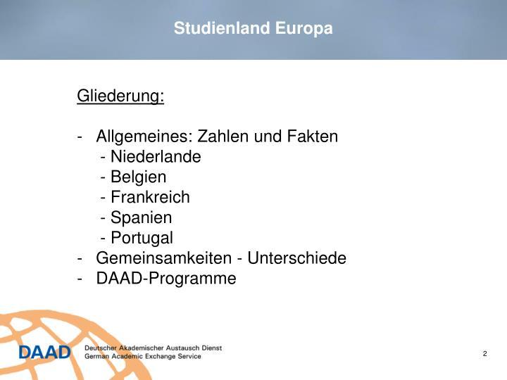 Studienland Europa