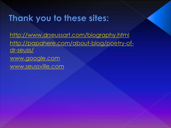 Thank you to these sites:
