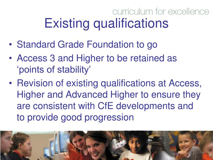 Existing qualifications