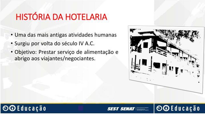 HISTÓRIA DA HOTELARIA