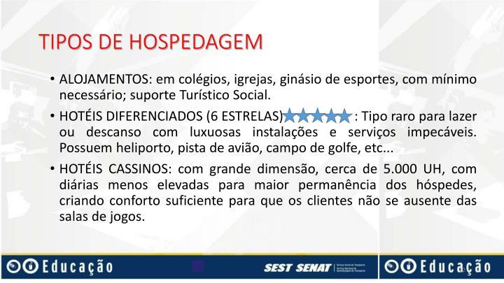 TIPOS DE HOSPEDAGEM