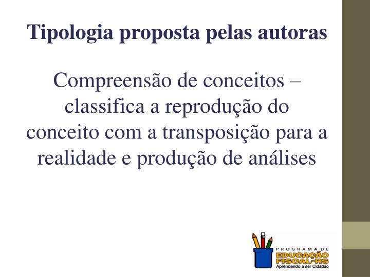 Tipologia proposta pelas autoras