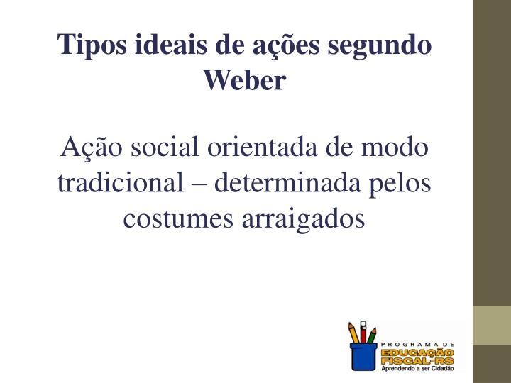 Tipos ideais de ações segundo Weber
