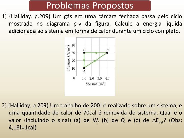 1) (Halliday, p.209) Um gs em uma cmara fechada passa pelo ciclo mostrado no diagrama p-v da figura. Calcule a energia lquida adicionada ao sistema em forma de calor durante um ciclo completo.