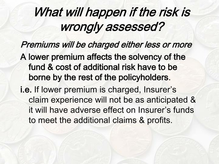What will happen if the risk is wrongly assessed?