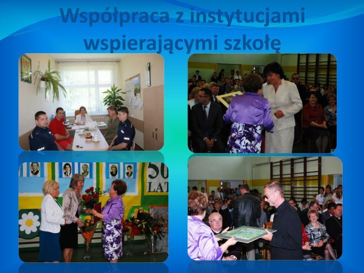 Współpraca z instytucjami                               wspierającymi szkołę