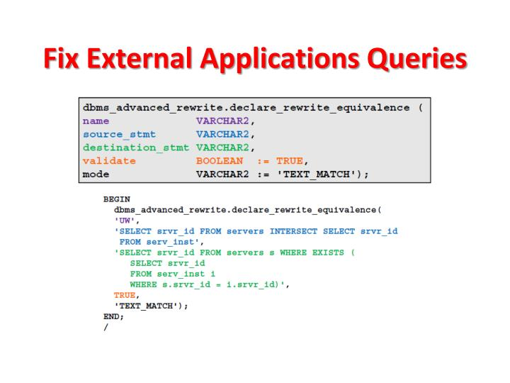 Fix External Applications Queries