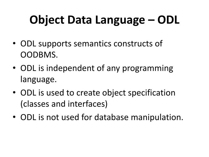 Object Data Language – ODL