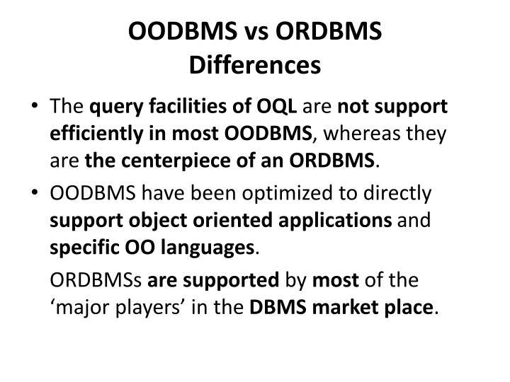 OODBMS vs ORDBMS