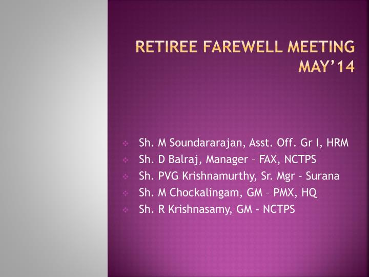 Retiree farewell meeting may 14