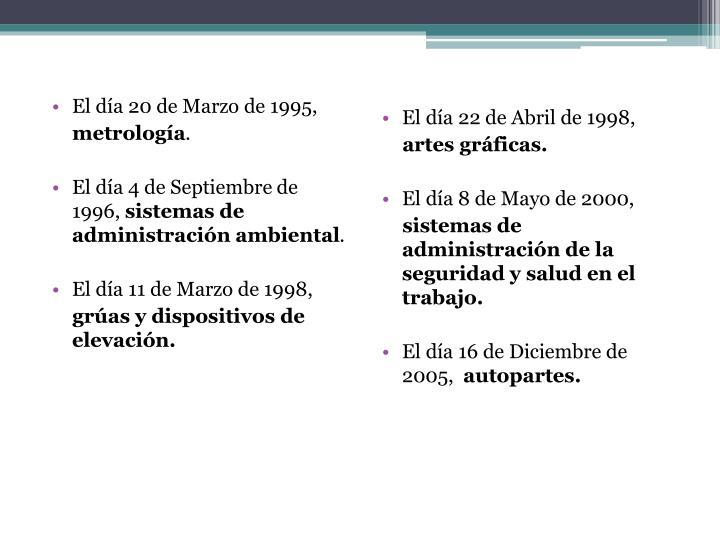 El día 20 de Marzo de 1995,