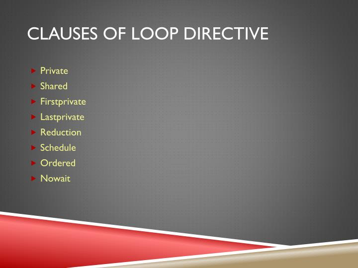 Clauses of loop directive