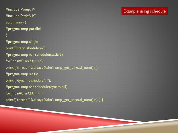 Example using schedule