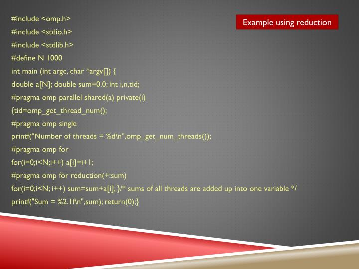 Example using