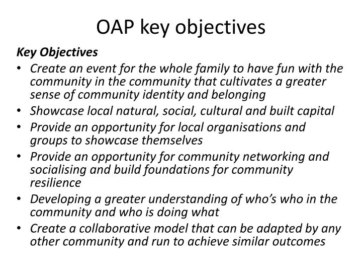 OAP key objectives