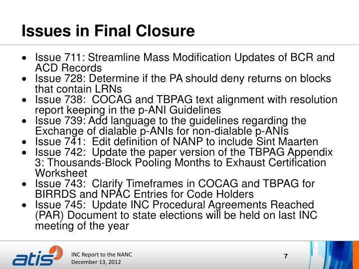 Issues in Final Closure