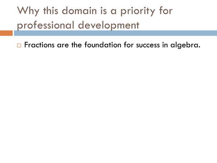 Why this domain is a priority for professional development