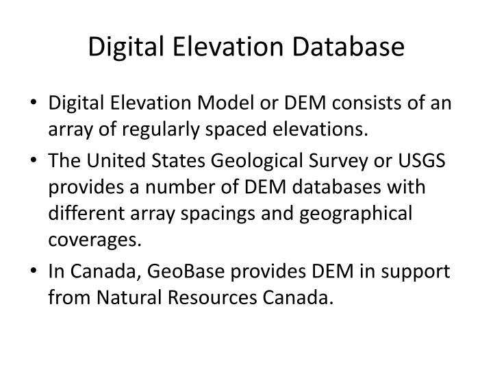Digital Elevation Database