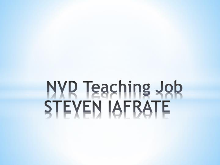 Nvd teaching job steven iafrate