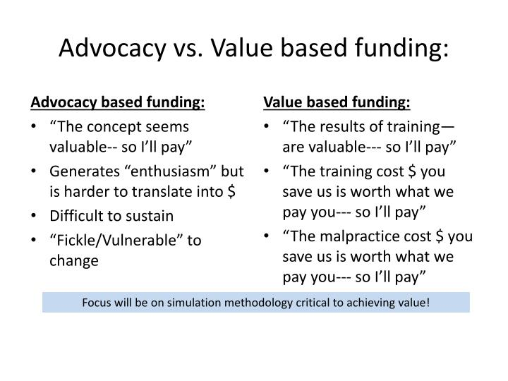 Advocacy based funding: