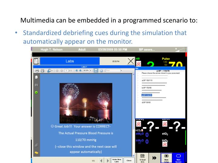 Multimedia can be embedded in a programmed scenario to: