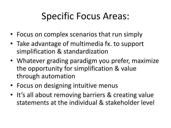 Specific Focus Areas: