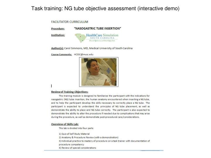 Task training: NG tube objective assessment (interactive demo)