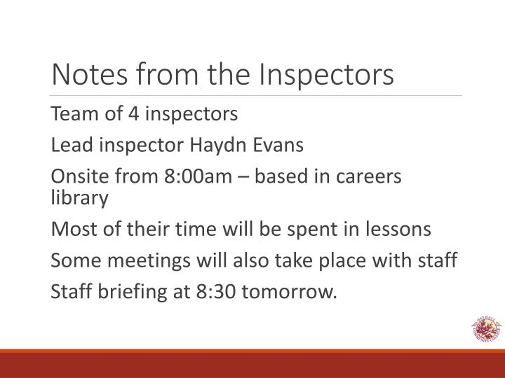 Notes from the Inspectors